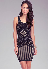 Geometric Bodycon Dress at bebe