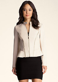 bebe Zipper Seam Peplum Jacket