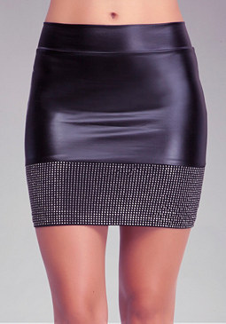 Studded Hem Mini Skirt at bebe