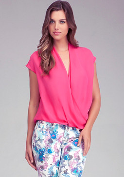 bebe Twisted Hem Blouse