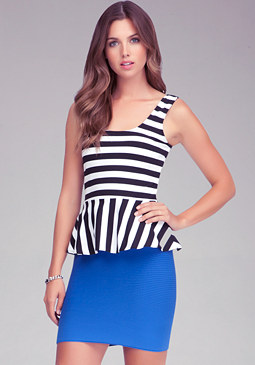 Striped Peplum Tank at bebe