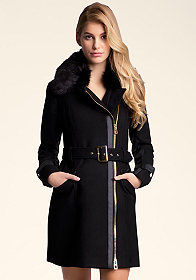 bebe Pleated Wool Coat������