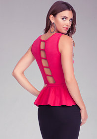 bebe Open Back Peplum Top