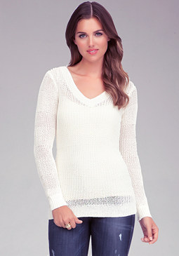 bebe Loose Stitch V-Neck Sweater