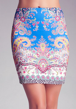 bebe Printed Scuba Mini Skirt