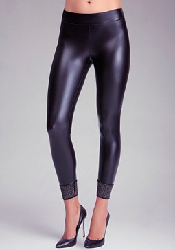 bebe Wet Studded Ankle Legging