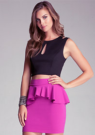 bebe Scuba Cutout Crop Top