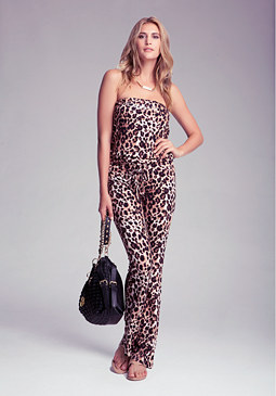 bebe Logo Leopard Jumpsuit