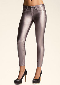 bebe Coated Iridescent Skinny Jeans