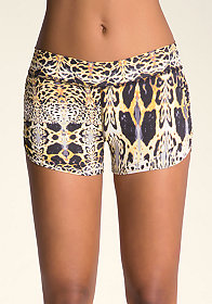 bebe Printed Ruched Shorts