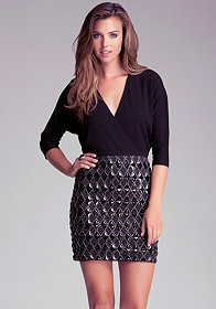 bebe Embellished Skirt Dolman Dress