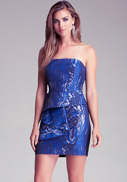 Front Drape Strapless Dress at bebe