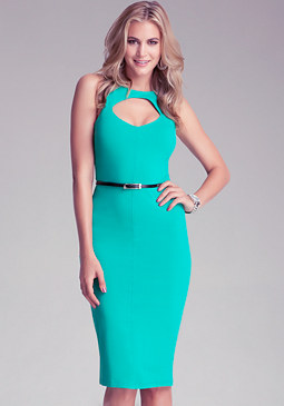 bebe Keyhole Front Midi Dress