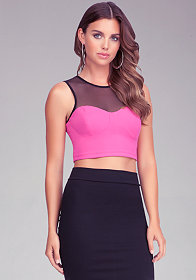 bebe Mesh & Yoke Crop Top