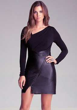 bebe Leather Skirt Dress With Zipper