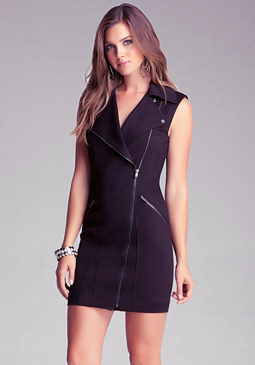 bebe Wide Collar Ponte Zipper Dress