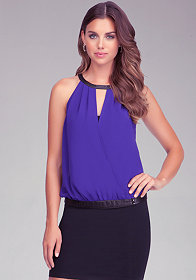 bebe Circle Neck Wrap Top