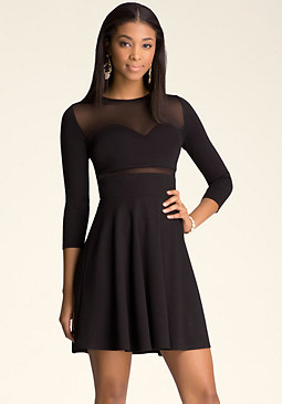 Mesh Fit & Flare Dress at bebe