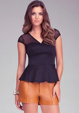 V Neck Mesh Peplum Top at bebe