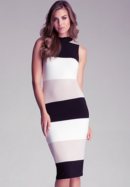 bebe Sleeveless Stripe Midi Dress