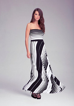 Striped Tube Maxi Dress at bebe