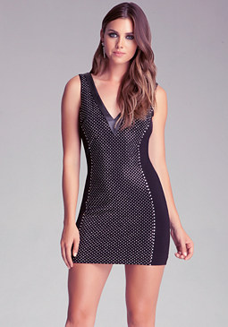 Stud Front V Neck Dress at bebe