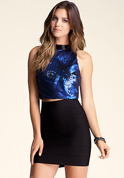 bebe Sequin Mock Neck Crop Top
