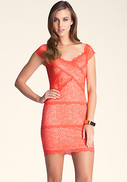 bebe Off Shoulder Lace Dress