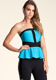 bebe Sheer Panel Peplum Tube Top