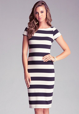 bebe Stripe Midi Dress