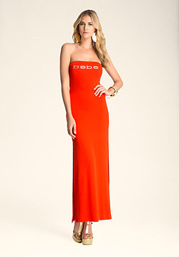 Logo Jersey Tube Maxi Dress at bebe