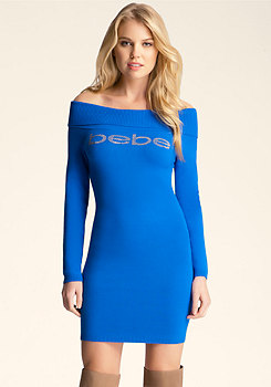 Off Shoulder Sweater Dress at bebe