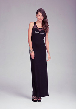 Logo Sweetheart Maxi Dress at bebe