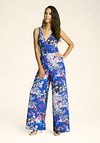 Printed Wide Leg Jumpsuit at bebe