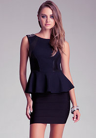 Studded Shoulder Peplum Top at bebe
