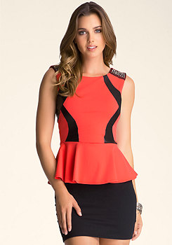Stud Shoulder Peplum Top at bebe