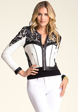bebe Lace Zip-Up Jacket