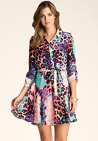 bebe Leopard Shirt Dress