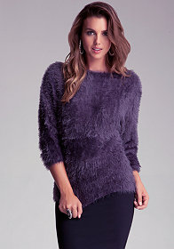 bebe Fuzzy Yarn Sweater