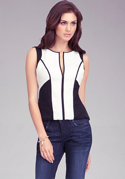 bebe Sleeveless Contrast Top