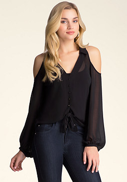bebe Cold Shoulder Tie-Front Shirt