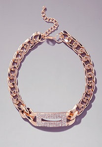Chainlink & Crystal ID Necklace at bebe