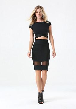 bebe Mesh Panel Pencil Skirt