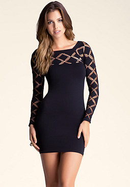 bebe Diamond Slash Top Dress