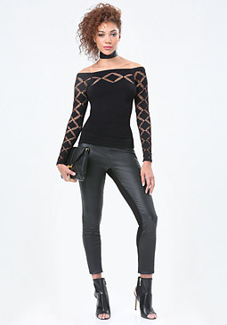 bebe Diamond Slash Detail Top