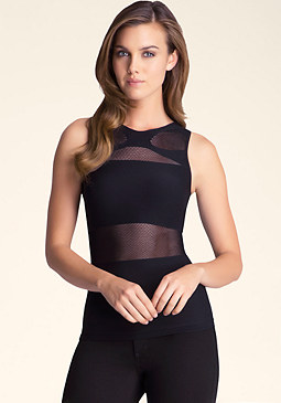 bebe Cross Front Mesh Panel Top