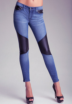 Pieced Leatherette Jeans at bebe