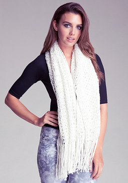Metallic & Fringe Infinity Scarf at bebe