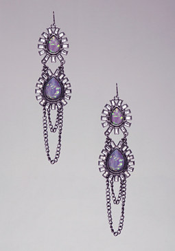 Teardrop & Chain Earrings at bebe