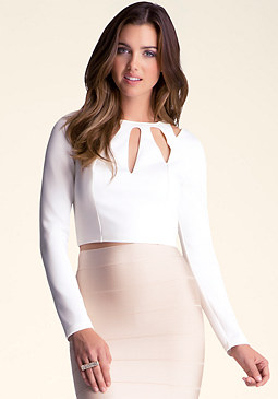 bebe Long Sleeve Cutout Crop